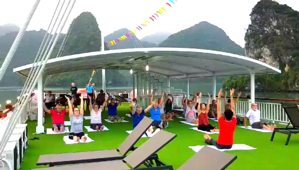 Start a new day with Tai Chi exercise on the top deck