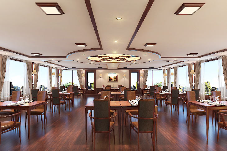 Restaurant is designed with the combination of yellow light and dark-brown wooden to create the Royal atmosphere