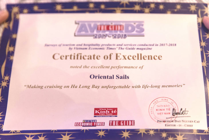 "Oriental Sails received the Award: ""Making cruising on Ha Long Bay unforgettable with life-long memories"""